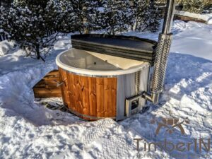 Wood fired hot tub with jets with integrated wood burner 17
