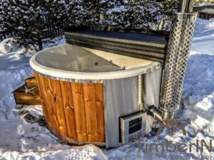 Wood fired hot tub with jets with integrated wood burner 18