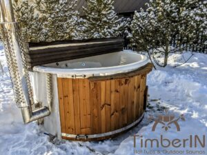 Wood fired hot tub with jets with integrated wood burner 2