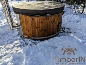 Wood fired hot tub with jets with integrated wood burner 20