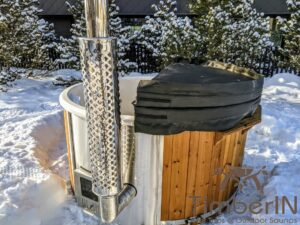 Wood fired hot tub with jets with integrated wood burner 21