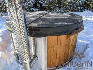 Wood fired hot tub with jets with integrated wood burner 26