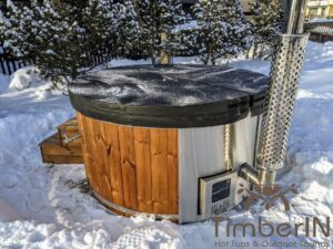 Wood fired hot tub with jets with integrated wood burner 27