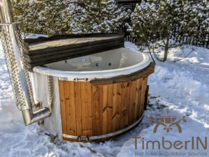 Wood fired hot tub with jets with integrated wood burner 3