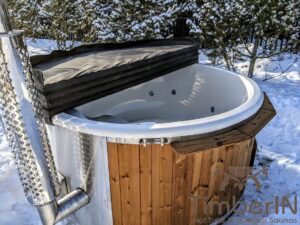 Wood fired hot tub with jets with integrated wood burner 4