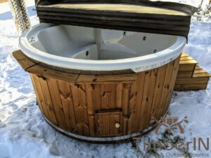 Wood fired hot tub with jets with integrated wood burner 6