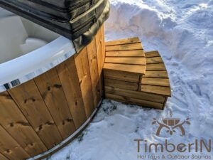 Wood fired hot tub with jets with integrated wood burner 9