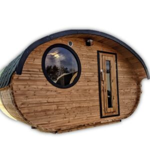Outdoor oval barrel sauna hobbit